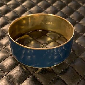 J. Crew Jewelry - J Crew Gold Navy Enamel Thick Bangle